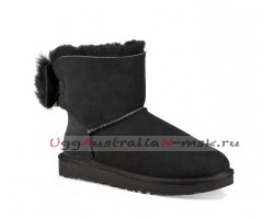 UGG BOW MINI FLUFF BOOT BLACK