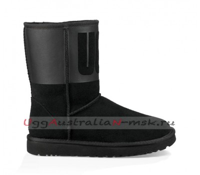 UGG CLASSIC SHORT RUBBER BOOT BLACK