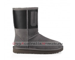 UGG CLASSIC SHORT RUBBER BOOT GREY / BLACK