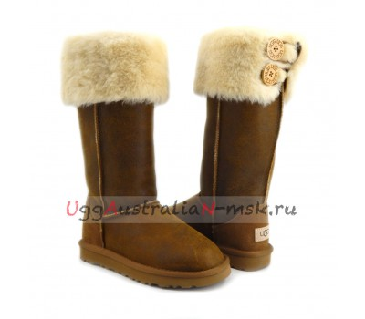 UGG BOOTS OVER THE KNEE BAILEY BUTTON II BOMBER CHESTNUT