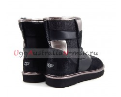 UGG CLASSIC MINI GLITTER PATCHWORK BOOT BLACK