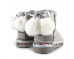 UGG KIDS BOW POM I DO WHITE