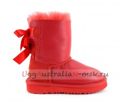 UGG KIDS TODDLERS BAILEY BOW METALLIC RED