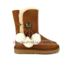 UGG BAILEY BUTTON POM CHESTNUT