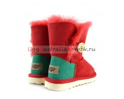 UGG KIDS BAILEY BUTTON RED AND GREEN