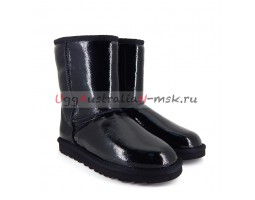 UGG CLASSIC SHORT PATENT II BLACK LACQUER
