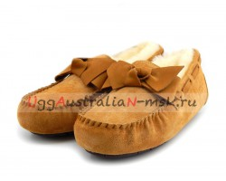 UGG DACOTA LEATHER BOW CHESTNUT