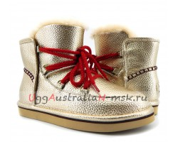UGG & JIMMY CHOO LODGE MINI LEATHER GOLD