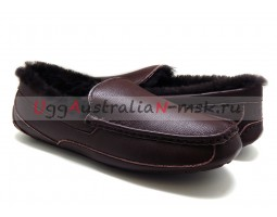 UGG MEN ASCOT LEATHER NEW CHOCOLATE
