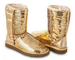 UGG CLASSIC SHORT SPARKLES GOLD