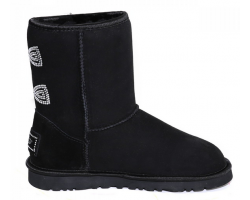 UGG CLASSIC SHORT CRYSTAL BOW BLACK