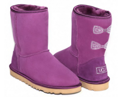UGG CLASSIC SHORT CRYSTAL BOW PURPLE