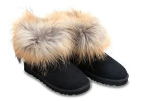 UGG FOX FUR BLACK