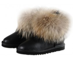 UGG FOX FUR METALLIC BLACK