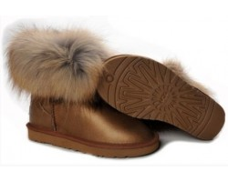 UGG FOX FUR METALLIC BRONZE
