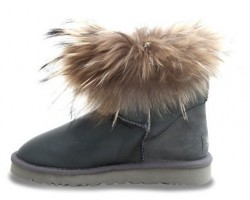 UGG FOX FUR METALLIC GREY