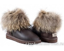 UGG FOX FUR MINI METALLIC CHOCOLATE