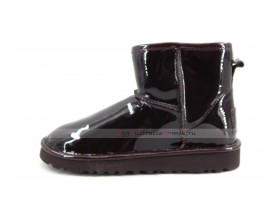 UGG & JIMMY CHOO CLASSIC MINI PATENT II CHOCOLATE LACQUER