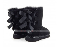 UGG KIDS BAILEY BOW II METALLIC BLACK