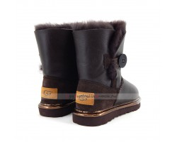 UGG KIDS BAILEY BUTTON II METALLIC CHOCOLATE