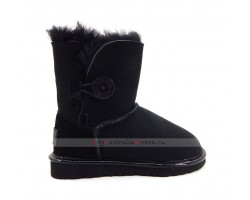 UGG KIDS BAILEY BUTTON II SUEDE METALLIC BLACK