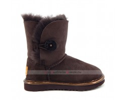 UGG KIDS BAILEY BUTTON II SUEDE METALLIC CHOCOLATE