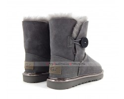 UGG KIDS BAILEY BUTTON II SUEDE METALLIC GREY