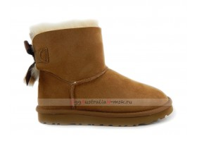 UGG MINI BAILEY BOW FUR BRUSH BOOT CHESTNUT