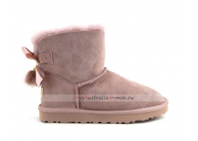 UGG MINI BAILEY BOW FUR BRUSH BOOT DUSK