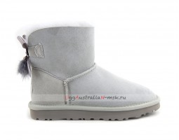 UGG MINI BAILEY BOW FUR BRUSH BOOT GREY VIOLET