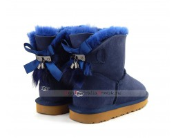 UGG MINI BAILEY BOW FUR BRUSH BOOT NAVY