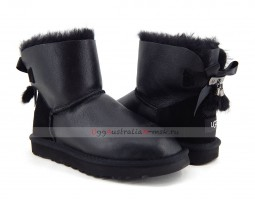 UGG MINI BAILEY BOW FUR BRUSH METALLIC BOOT BLACK