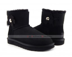 UGG MINI BAILEY BUTTON POPPY BOOT BLACK