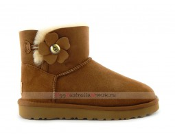 UGG MINI BAILEY BUTTON POPPY BOOT CHESTNUT