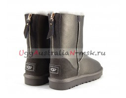 UGG SHORT ZIP II METALLIC PEWTER